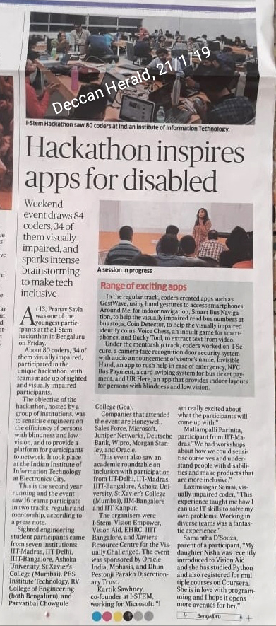 Deccan Herald news about Inclusive STEM Hackathon